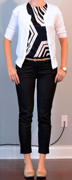 Outfit Posts: outfit post: graphic black and white top, white cardigan, black cropped pants, gold belt