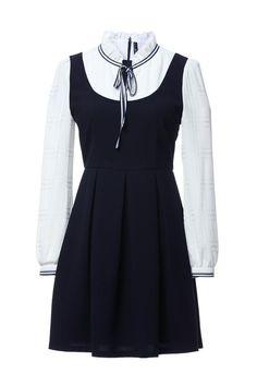 89861e294a8 Ruffle Bow Neck False Two Dress