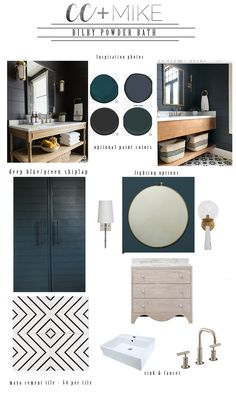 CC and Mike Frisco I Project Reveal powder bath with navy shiplap walls natural wood vanity black hardware gold and white sconces silver mirror black and white ceramic patterned floors and a queen sera sera framed art Shiplap Bathroom Wall, Navy Bathroom, Master Bathroom, European Style Homes, Cabinet Paint Colors, Interior Decorating, Interior Design, Interior Ideas, White Shiplap