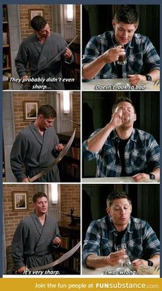 Dean Winchester, Master of Good Ideas.-- Yet more proof that I am Dean Winchester. Castiel, Sammy Supernatural, Supernatural Series, Supernatural Quotes, Supernatural Crafts, Supernatural Bloopers, Supernatural Convention, Dean Winchester, Winchester Brothers