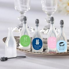 Exclusively Weddings | Personalized Champagne Bottle Bubbles With Labels - For ceremony send off? instead of releasing balloons...