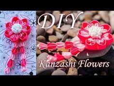 Цветок Канзаши с веточками Мастер Класс / DIY Kanzashi Flowers - YouTube