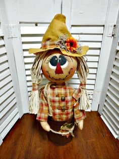 Handpainted Primitive Autumn Fall Scarecrow in a Can..All Sewn..No  Gourd