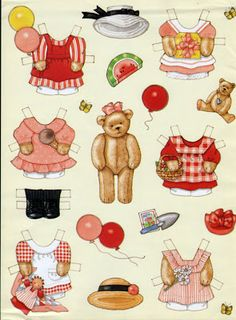 teddy bear pd: inkspired musings: Summer's End Teddy Bear Gifts, Teddy Bears, Paper Dolls Clothing, Paper Dolls Printable, Paper Animals, Dress Up Dolls, Vintage Paper Dolls, Paper Toys, Doll Patterns