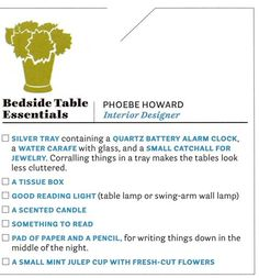 Phoebe Howard: Bedside Table Essentials