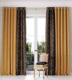 Home Sweet Home: These Are the Biggest Home Décor Trends of 2019 . Cute Curtains, Gold Curtains, Curtains With Blinds, Living Room Orange, Living Room Colors, Curtain Designs, Home Decor Trends, Home Furnishings, Decoration
