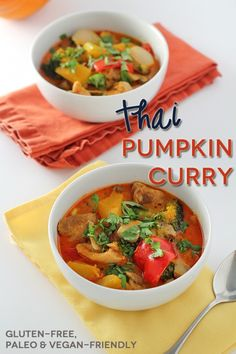 Thai Pumpkin Curry: super easy to adapt the protein source for different diets (gf, vegan).