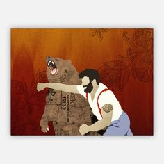 "Haymaker 24x18 Poster  by Sharp Shirter, 31% off (""The Haymaker Poster by Sharp Shirter says a lot of things about you. It may mean that you've got a killer right hook and a beautiful, full beard. Or maybe that you spend your afternoons punching bears in the mouth. Whatever the reason, it's not to be hung with irony. It's to be hung with pride."")"
