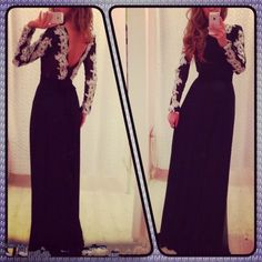 little black dress evening gown party dress fashion lace long sleeve prom dress