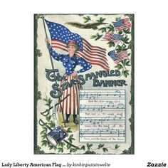 Lady Liberty American Flag Star-Spangled Banner 5x7 Paper Invitation Card