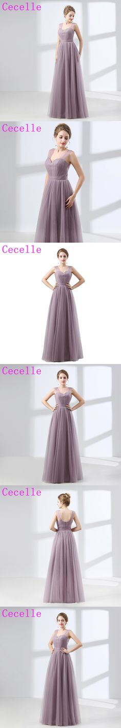 Lilac Tulle Formal Long Bridesmaids Dresses Pleats A-line Floor Length Formal Country Wedding Party Dresses Elegant Custom Made