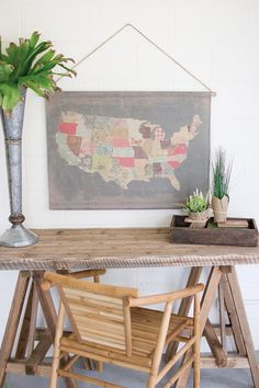"Our new collection of vintage inspired banners are made from a soft cotton blend with a rustic sisal rope that makes hanging a breeze. This lovely map evokes the patchwork landscape of America and makes a rustic focal piece to your shabby-chic collection. 38"" x 26""t"