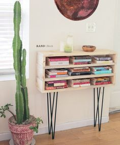 RAND  Modern console shelf on hairpin legs by WillowETSYshop, $400.00