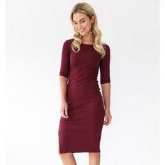 bordeaux red marsala cozy dress
