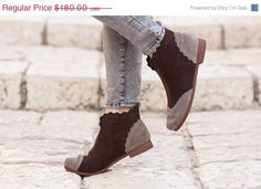 Sale 20% OFF, Brown and Grey Suede Boots, Ankle Boots, Brown Leather Booties, Brown Boots, Winter Shoes, Brown Shoes, Flat Boots