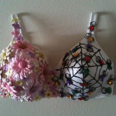 A decorated bra, by LaLa, in support of breast cancer awareness <3