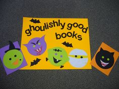 """Goulishly Good Books"" library bulletin board"