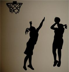 Basketball Silhouettes Girls Room Wall Decal Decor