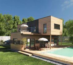 2 simples blocs empilés pour cette charmante maison bois tournée vers sa piscine  http://www.edifit.fr    #MaisonBois #MaisonContemporaine par eulogia