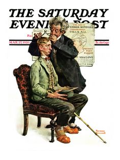"""""""Phrenologist"""" Saturday Evening Post Cover, March 27,1926  Norman Rockwell"""