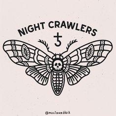 NIGHT CRAWLERS #mxblck #moth #mothtattooflash #illustration #vector by maximumblack