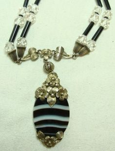Banded Agate, Rock Crystal and Gilded Silver Necklace