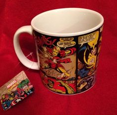 Marvel Comics Comic Strip Wolverine Spiderman Captain America Coffee Cup Mug #marvelcomics #superhero #comiccon #nerds