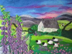 textile art, felt painting, wet felted, foxgloves in June, 20 x 16 inches