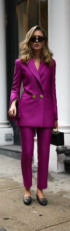 Power Dressing //  Magenta double breasted blazer, magenta slim fit pants, leather box bag, gold front hoop earrings, multi-row choker, large black sunglasses {Petar Petrov, Mark Cross, DVF, fall winter 2017 trends, fall fashion trends, classic dressing, power suit, power dressing, wear to work, office style, office attire}