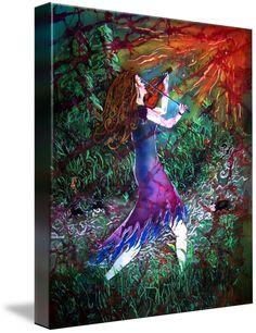 Fiddler of the Forest by Sue Duda Framed Wall Art, Framed Art Prints, Fine Art Prints, Canvas Prints, Batik Art, Forest Art, Custom Canvas, Green Man, Art Portfolio