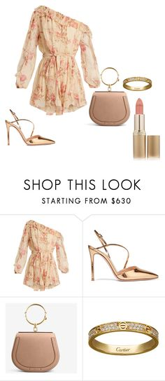 """ju"" by julinutella ❤ liked on Polyvore featuring Zimmermann, Gianvito Rossi, Chloé, Cartier and L'Oréal Paris"