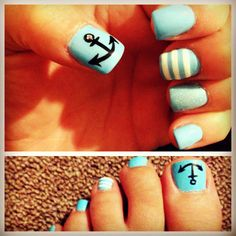 Nautical manicure and pedicure