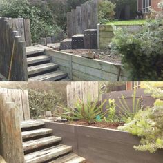 retaining wall design with stairs Retaining Wall Design, Retaining Walls, Concrete Sleepers, Railway Sleepers, Raised Flower Beds, Garden Stairs, Raised Planter, Painting Concrete, Outdoor Landscaping