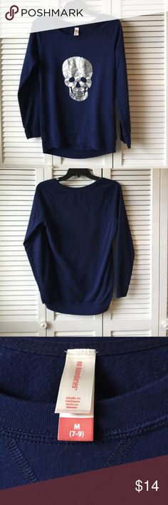 Deep Blue Skull Sweater Size M Lightly worn and very soft! No stains, rips, holes, or imperfections. The skull detail on the front was made to look distressed. 60% cotton, 40% polyester No Boundaries Tops Sweatshirts & Hoodies