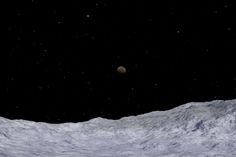 Charon, as seen from Pluto, simulated in the Starry Night software.<br />