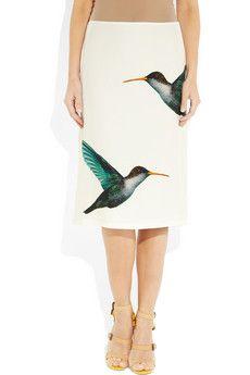 Jil Sander  Lapis hummingbird-print satin-twill skirt. So right.