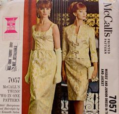 1960s Formal Evening Gown and Jacket McCalls 7057 Twins Two in One Vintage Sewing Pattern by BluetreeSewingStudio on Etsy