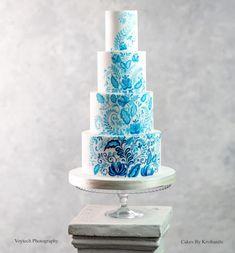 Bespoke Wedding Cakes London | Cakes by Krishanthi. Fine art hand painted four tier cake in the style of Delft blue porcelain. #stunningweddingcake #stylishweddingcake #uniqueweddingcake Luxury Wedding Cake, Unique Wedding Cakes, Wedding Cake Designs, Unique Weddings, Painted Wedding Cake, London Cake, Tier Cake, Cake Tasting, Fashion Cakes