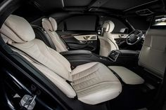 The new S-Class lures you in with its comfortability und luxurious interior design. [Fuel consumption (combined): 10.3-5.5 l/100km | CO2-emission (combined): 242-146 g/].  http://mb4.me/Efficiency-Statement/