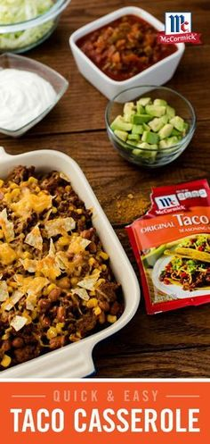 """A quick and easy version of """"Taco Night,"""" this Taco Casserole recipe packs all of the great flavor of tacos in one delicious dish. Beef Dishes, Tasty Dishes, Food Dishes, Main Dishes, Carnitas, Great Recipes, Favorite Recipes, Mexican Dinner Recipes, Good Food"""