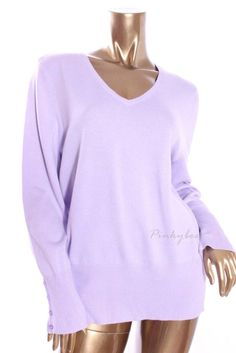 JM COLLECTION New Womens Light Purple Polo V-Neck Long Sleeve Sweater Size L  XL #JMCollection #VNeck