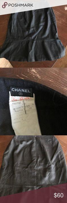Vintage Chanel pinstriped tulip skirt 38 Vintage Chanel pinstriped tulip skirt 38.  Very good preowned condition. CHANEL Skirts