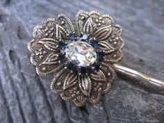 Antique Silver Floral Bouquet Bobby Pin by thepinkcamellia on Etsy