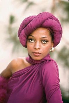 Always Stunning Diana Ross Donning a Lovely Crisscrossed Headwrap. || Desert Lily Vintage