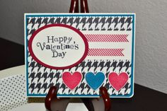 Houndstooth Valentine's Day Card by TheRoundedCorner on Etsy