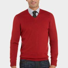 Pronto Uomo Red Heather V-Neck Merino Sweater - Classic Fit (Regular)   Men's Wearhouse