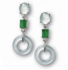 Pair of Icy Jadeite, Jadeite and Diamond Pendant Earrings - The pair of earrings each set with a highly translucent icy jadeite hoop, surmounted by an oval icy jadeite cabochon of matching colour and translucency, suspending a rich emerald green concave rectangular jadeite plaque of fine translucency, enhanced by brilliant-cut diamonds. - http://www.sothebys.com/en/auctions/ecatalogue/2007/magnificient-jewels-and-jadeite-hk0255/lot.1024.html