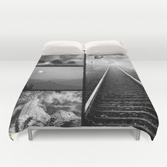 Black and white collage Duvet Cover by Pirmin Nohr - $99.00 Nature, landscape, trees, silhouettes, sun, sunbeams, sunrays, castle, clouds, sky, fullmoon, birds, lightnings, mountains, rails, fantasy, sky Here are the single pics:  http://society6.com/pirminnohr/stormy-weather#1=45 http://society6.com/pirminnohr/thunde...astle#1=45 http://society6.com/pirminnohr/railwa...print#1=45 http://society6.com/pirminnohr/black-...print#1=45