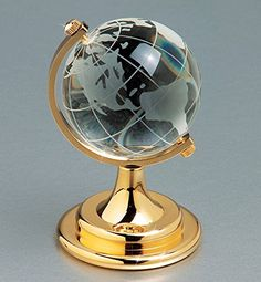 Etched Crystal World Globe On Stand A Brass Colored Base ...