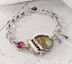 Gemstone Bracelet, Metalsmith Jewelry, Sterling Silver Bracelet, Stone Bracelet, 22k Gold Bracelet, Green Stone, Unique Bracelet